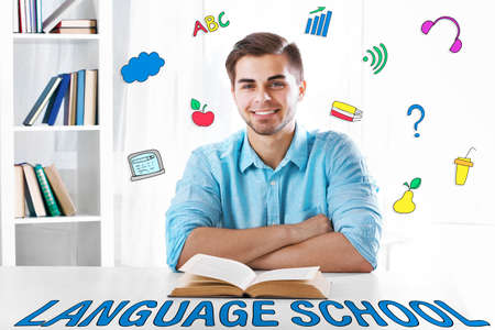 Language school concept with young man