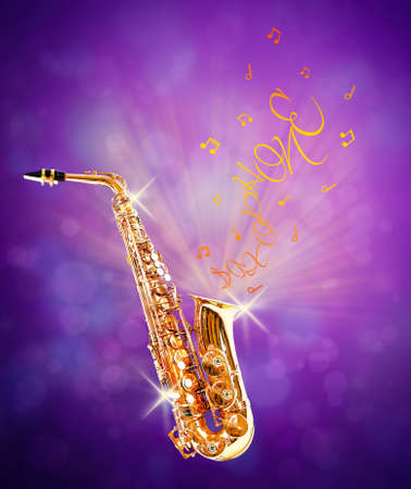 soprano saxophone: Golden saxophone and flowing notes from it against purple background