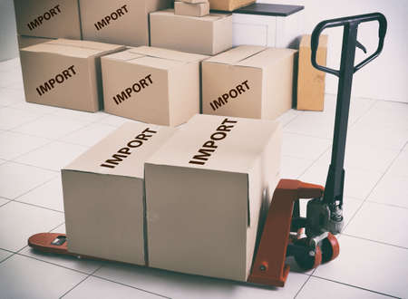 importer: Manual pallet truck with carton boxes and text Import