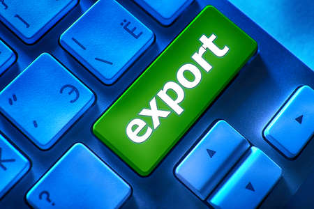 Close up of Export keyboard button Stock Photo