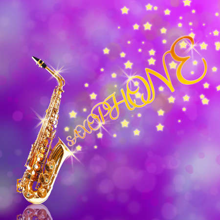 soprano saxophone: Saxofón de oro con las estrellas que salen contra el fondo púrpura