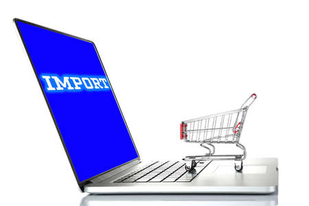 importer: Laptop with text Import and small shopping cart isolated on white background Stock Photo