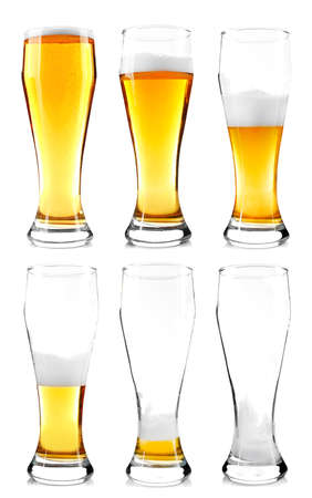 Steps of discharge glass of beer. Drinking beer process, isolated on white Stock Photo