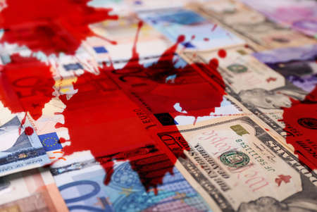 Money banknotes with bloodstains Stock Photo