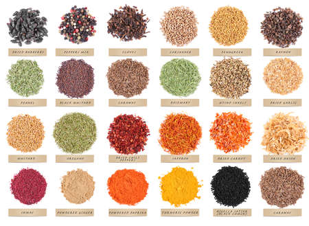 Set of different spices isolated on white background Stock Photo