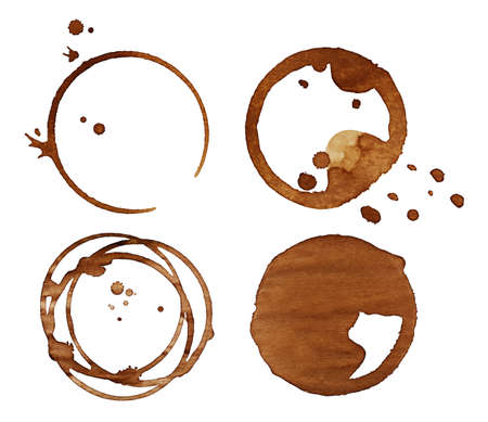 accidental: Coffee stains, isolated on white