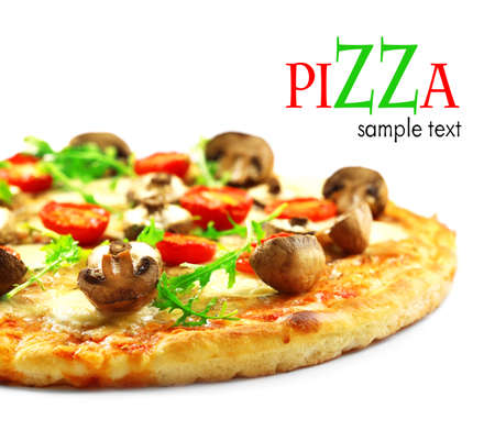 Tasty pizza with mushrooms and tomatoes isolated on white