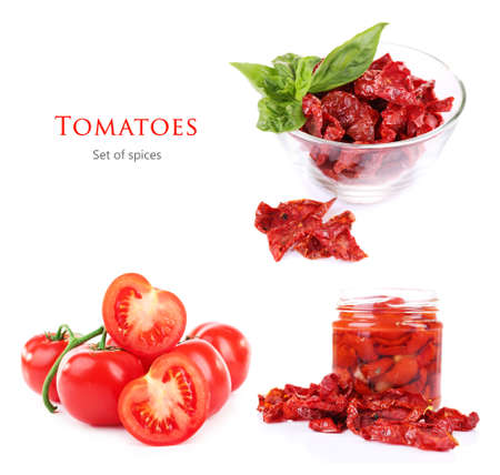asian flavors: Dried and fresh tomatoes. Isolated on white background