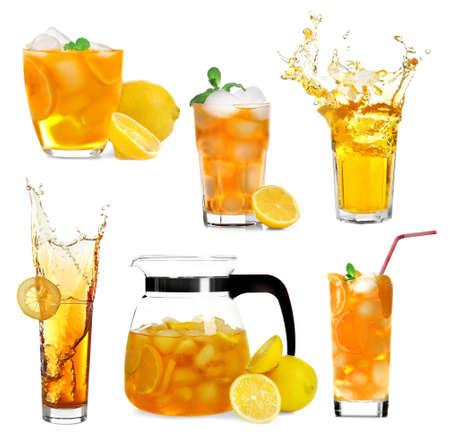 sweetened: Collage of ice tea isolated on white Stock Photo