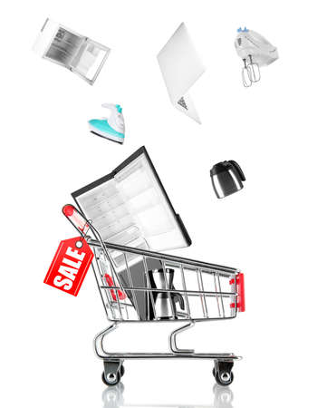 technology collage: Online shopping concept, shopping trolley with household appliances, isolated on white