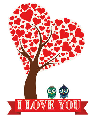 revelation: Illustration tree with hearts and birds Stock Photo