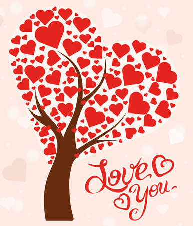enamored: Illustration tree with hearts and text Love You Stock Photo