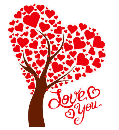 Illustration tree with hearts and text Love You Stock Photo