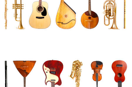 Collage of musical instruments isolated on white Stock Photo