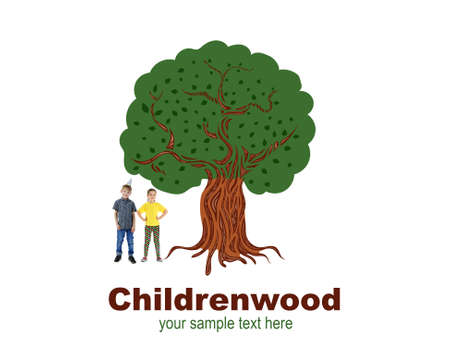grow up: Little cute girl and boy near drawn tree with text Childrenwood