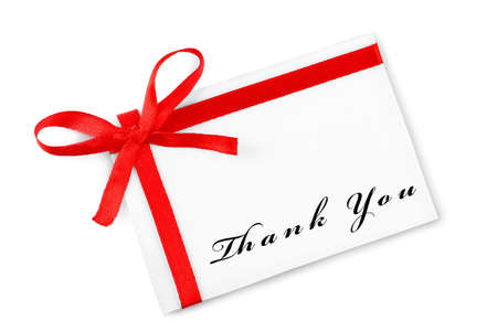 Card decorated with bow and text Thank You isolated on white