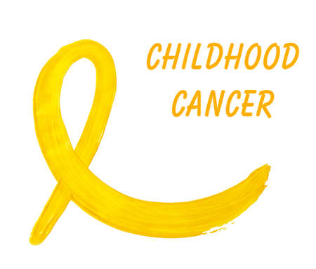 Painted yellow awareness ribbon and text Childhood Cancer isolated on white Stock Photo