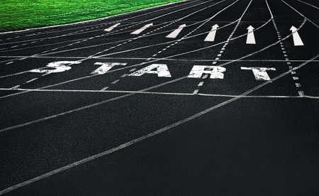 Start written on running track