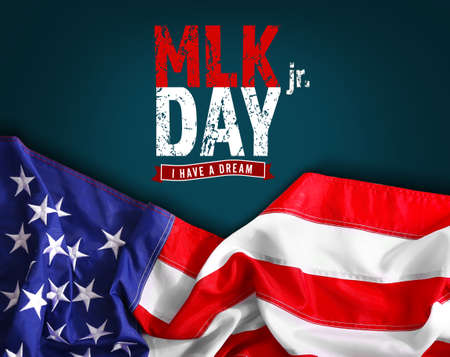 마틴 루터 킹 데이. 어두운 배경에 아메리카 합중국의 국기