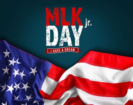 Martin Luther King dag. Vlag van de Verenigde Staten van Amerika op donkere achtergrond