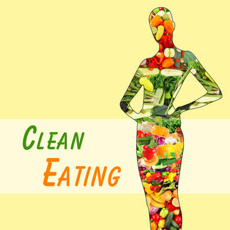 slim woman: Female silhouette with fruits and vegetables. Clean eating concept