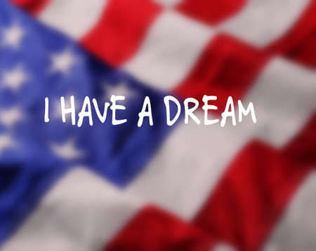 Martin Luther King Day. Blurred flag of United States of America Standard-Bild