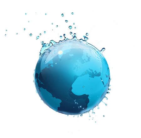 Globe with water isolated on white