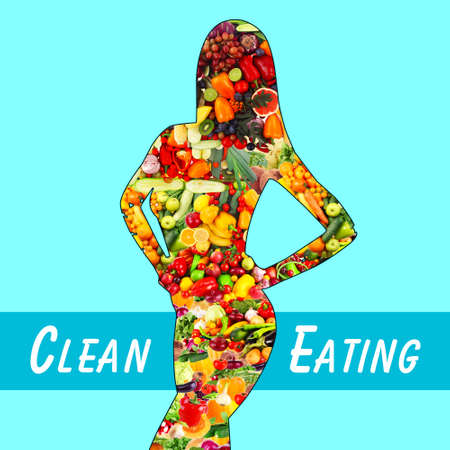 Female silhouette with fruits and vegetables. Clean eating concept