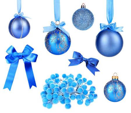 Set of blue Christmas toys isolated on white