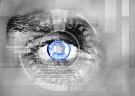 human eye: Human eye with button inside. Technology concept