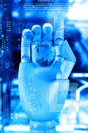 mano robotica: Robotic hand holding digital earth on circuit board background. Future technologies concept. Foto de archivo