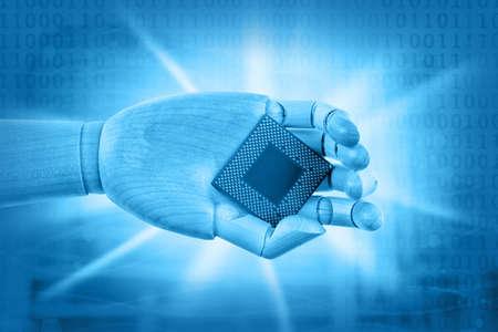 mano robotica: Robotic hand holding central processing unit. Future technologies concept.