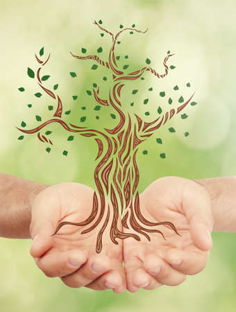illustrated: Male hands holding illustrated tree on green background. Nature protection concept.