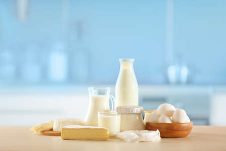 Dairy products on kitchen table