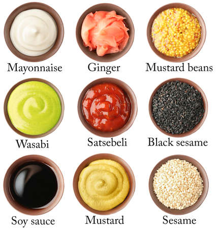 sauces: Set of different sauces with names on white background.
