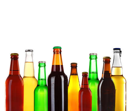 Bottles of different beer isolated on white
