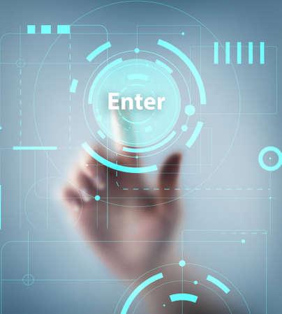 Hand pushing button on virtual screen