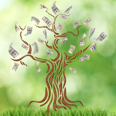 Money tree with grass on blurred green background.