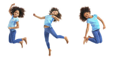afroamerican: Collage of little cute girl having fun on white background. Stock Photo