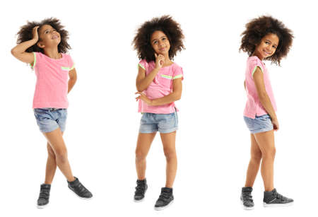 Collage of little cute girl having fun on white background. Фото со стока