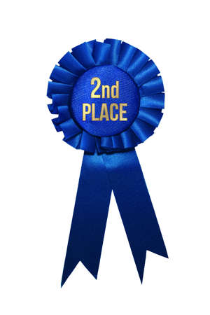 Second place blue ribbon award on white background. Stock Photo