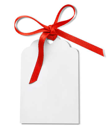 notepaper: Card with a red ribbon isolated on white