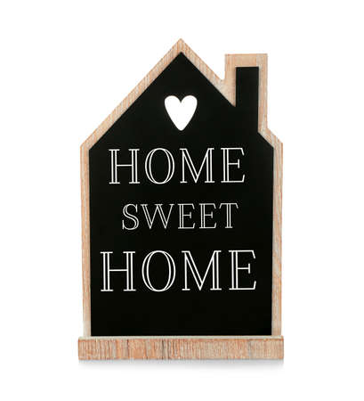 Text HOME SWEET HOME on house shaped chalkboard isolated on white. Family concept. Stock Photo