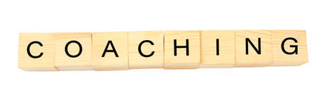 to contemplate: Coaching concept. Wooden cubes on white background