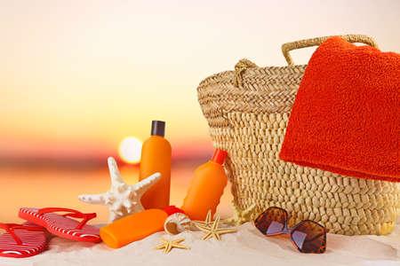 Sun protection set on sunset background Stock Photo