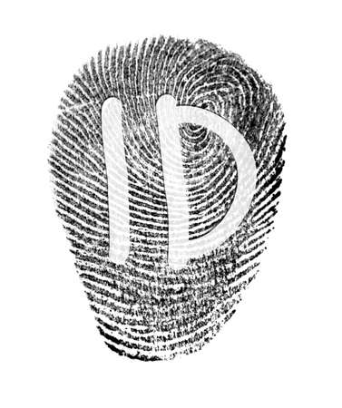 Fingerprint ID on white background. Individuality concept.
