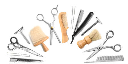 barbershop: Different professional barber equipment with space for text on white background