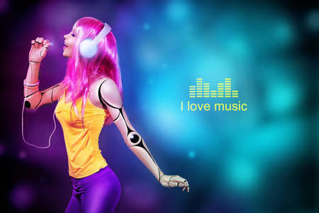 Female cyborg listening to music in headphones. Text I LOVE MUSIC on colorful background. Stock Photo