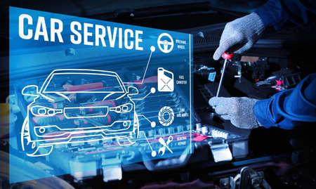 Interface of modern car diagnostic program on engine background. Car service concept.