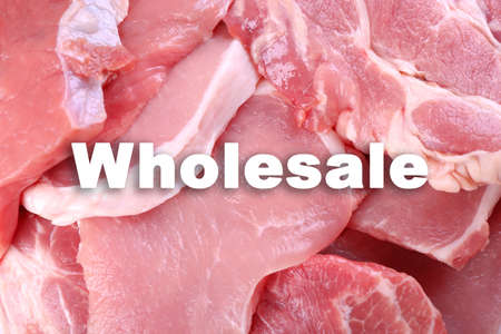 Wholesale concept. Pieces of pork meat, close up Stock Photo
